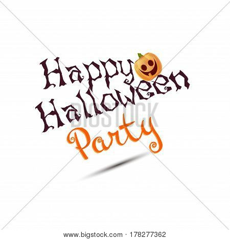 Halloween poster with pumpkins, candle, text decor