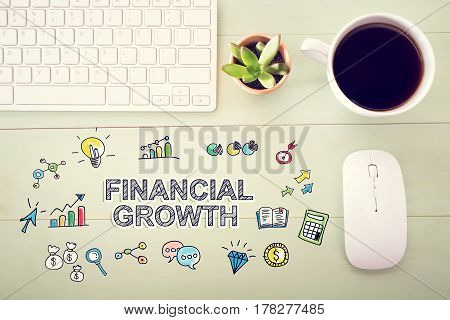 Financial Growth Concept With Workstation