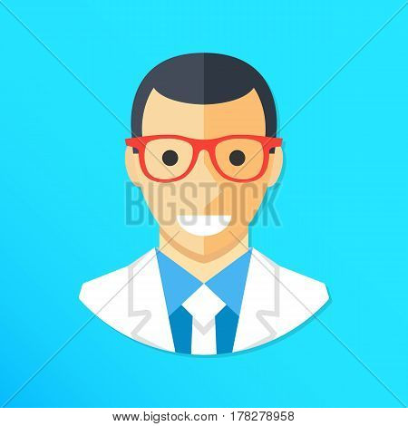 Doctor icon. Smiling doctor character wearing lab coat and glasses. Flat design graphic elements. Vector illustration