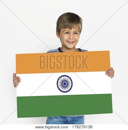 Boy Hands Hold Indian Flag Patriotism