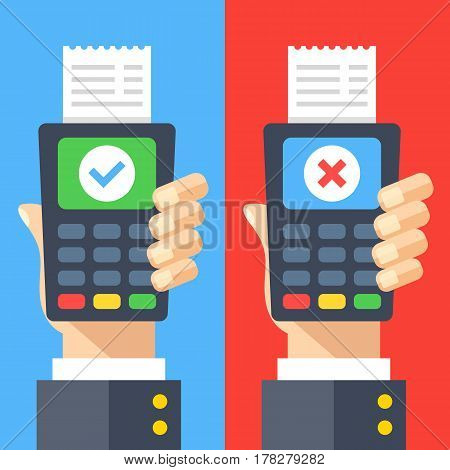 Payment terminals with cross and tick check marks on screen. Hands holding POS terminals with receipts. Rejected and approved payment concepts. Modern flat design graphic elements. Vector illustration