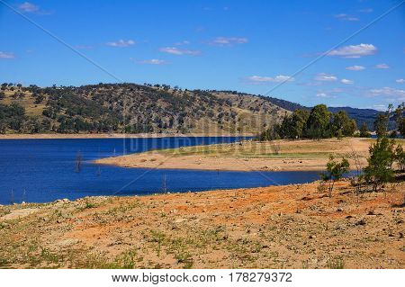 View From Above On Australian Outback Landscape With Lake