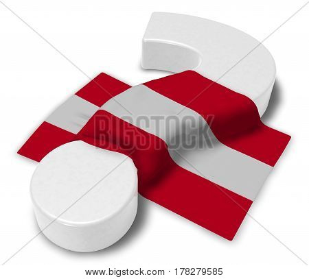 question mark and flag of austria - 3d illustration