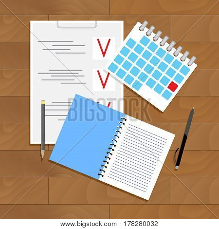 Planning and organization. Paperwork and startup note vector illustration