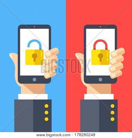 Hands holding smartphones with open and closed locks on screen. Locked and unlocked cell phones. Modern flat design graphic elements set for web banner, website, printed materials. Vector illustration