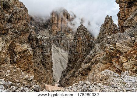 high Mezdi Valley in Sella mount Trentino Alto-Adige Italy