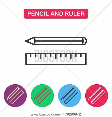 Pencil and Ruler vector icon. Simple thin line icon for websites web design mobile app infographics.