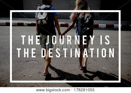 Friends Travel Backpacker Journey with Quote Graphic