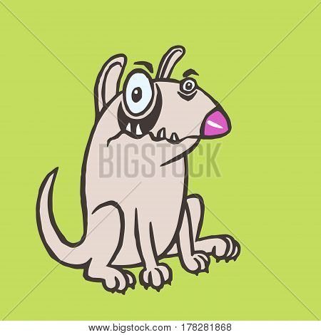 Cartoon evil dog. Funny cartoon fur cool character bull terrier. Contour freehand digital drawing cute dog. Cheerful pet sitting watching guard preserve secure for web icons and shirt. Isolated vector illustration.