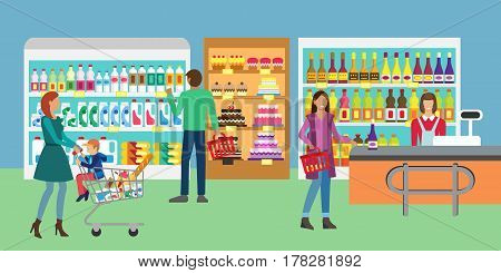 Concept banner for Shop. People in supermarket family shopping. Customers service and working process in supermarket. Store assortment.