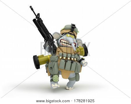 Elephant soldier walks 3D illustration in cartoon game style .