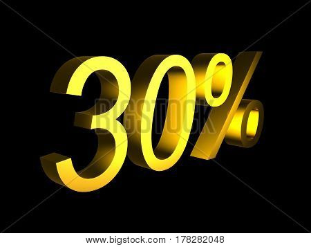 golden thirty percent on black background 3d render - sales financial concept