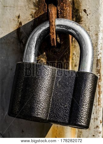 Padlock, locked door with black padlock, security, metal door