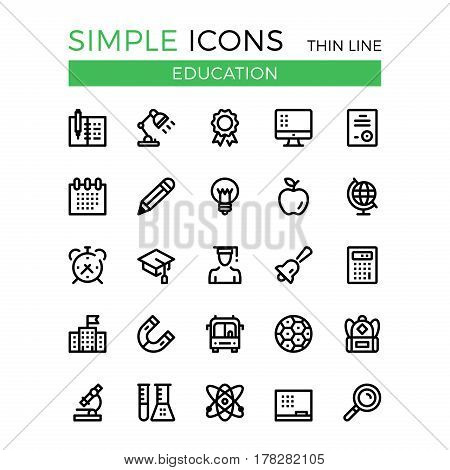 Education, learning, school vector thin line icons set. 32x32 px. Modern line graphic design linear concepts for websites, web design, mobile app, infographics. Pixel perfect vector outline icons set