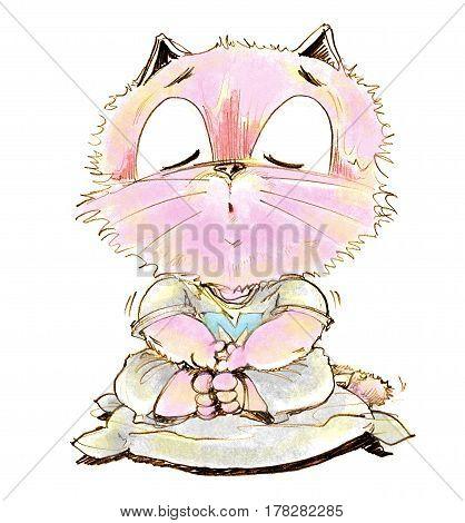 Cartoon cat sitting calmly for Yom Kippur eight practice vegetarianism Character pencil sketch design.