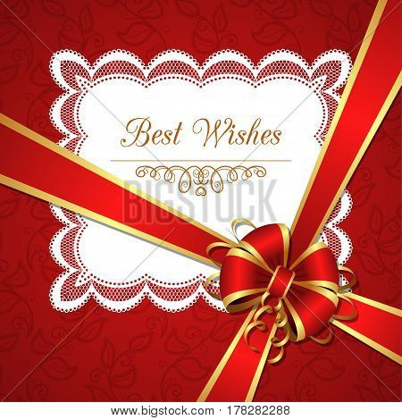 Greeting card template with silk bow and lace doily. Vector Illustration