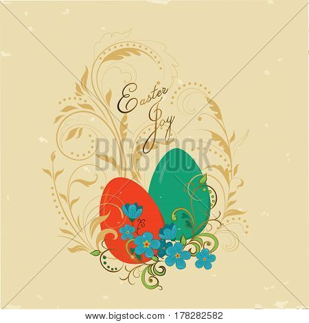 Vintage card Easter joy with an image on it Easter eggs and flowers on a gold pattern in the form of a swirl of plants