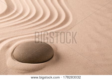 zen meditation stone and sand garden. Concept background for harmony spirituality and spirituality. Yoga or spa wellness background.