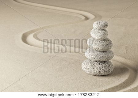 stack of stones in Japanese zn meditation garden.