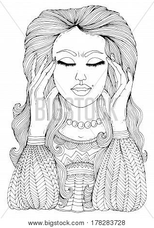 Vector hand drawn sad girl suffering from head pain in temples and stress. Headache migraine and stress. Pattern for coloring book A4 size.
