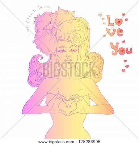 Vector hand drawn retro sexy girl with a bow in her hair. Two hands gesture representing the heart shape. The phrase love you. Colored lines Isolated on white background
