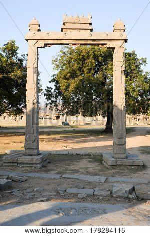Hampi, India - 12 January 2015: The kings balance at Hampi on India