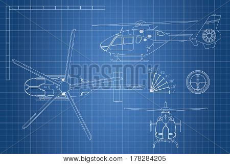 Engineering blueprint of helicopter. Helicopters view: top side and front. Industrial drawing. Vector illustration