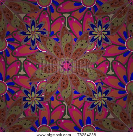 Multicolor ornament of small simple colorful flowers vector abstract seamless pattern for fabric or textile design.