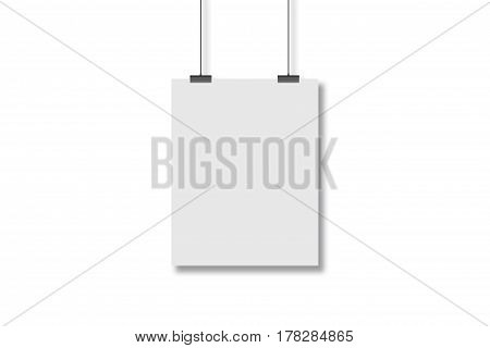 Blank White Page Hanging On The Two Clothespins With A String. Isolated On A White Background