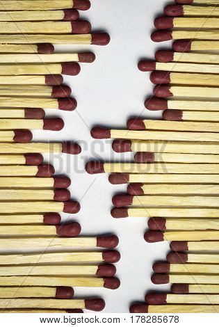 abstract background or texture a fictional path of of matches