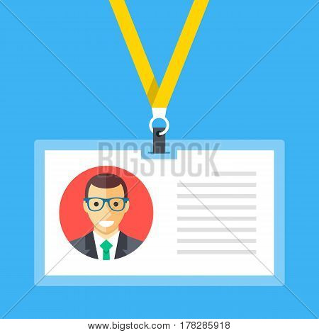 Identification card, lanyard, badge, id card concepts. Modern flat design graphic elements. Vector illustration isolated on blue background