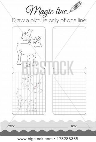 Coloring Book Deer  Black