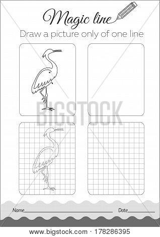 Coloring Book Heron  Black