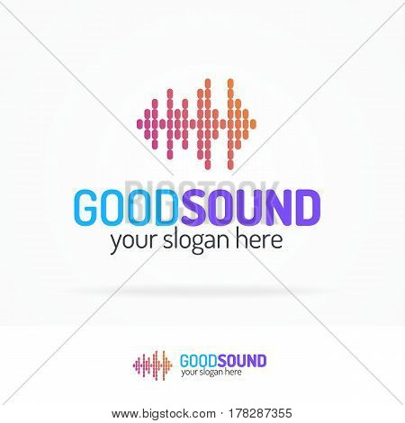 Good sound logo set modern color style isolated on white background for use music store, record company, audio system shop, dj market etc. Vector Illustration