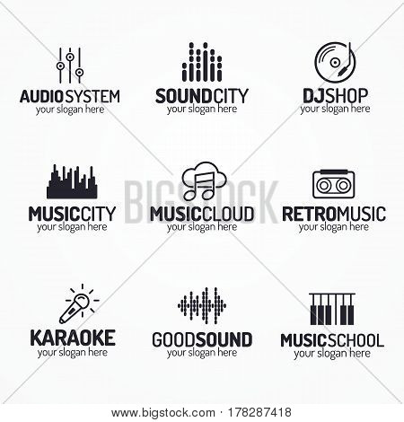 Music shop logo set with different icons black color style isolated on white background for use music store, sound company, audio system shop, equipment market, dj etc. Vector Illustration