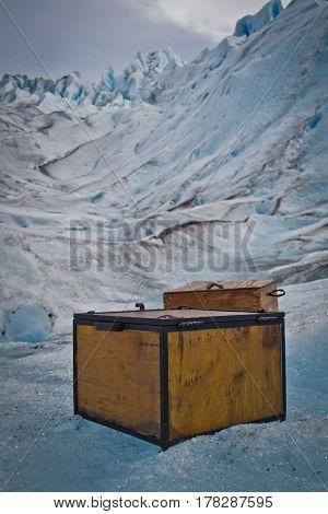 A heavy box on the Perito Moreno Glacier, in Argentinian Patagonia
