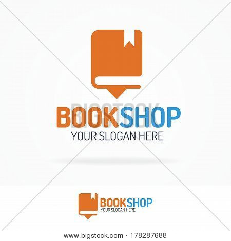 Book shop logo set isolated on background for use bookshop, store, market, sale etc. Vector Illustration