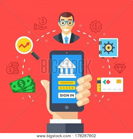Mobile banking. Hand holding smartphone with online bank login page, mobile account. Modern flat design graphic elements, thin line icons set for web banner, website, infographics. Vector illustration