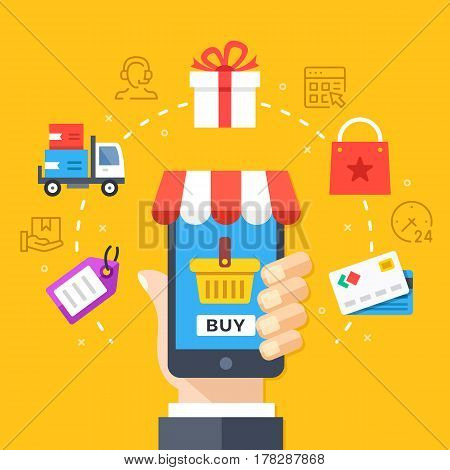 Mobile shopping, mobile commerce concept. Hand holding smartphone with checkout page. Modern flat design graphic elements, thin line icons set for web banner, website, infographic. Vector illustration