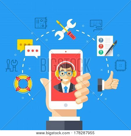 Contact support, customer service. Hand holding smartphone with technical support specialist. Flat design graphic concepts, thin line icons set for web banner, website, infographic. Vector illustration poster