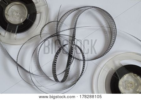 Old reels with black and white film of an amateur motion picture