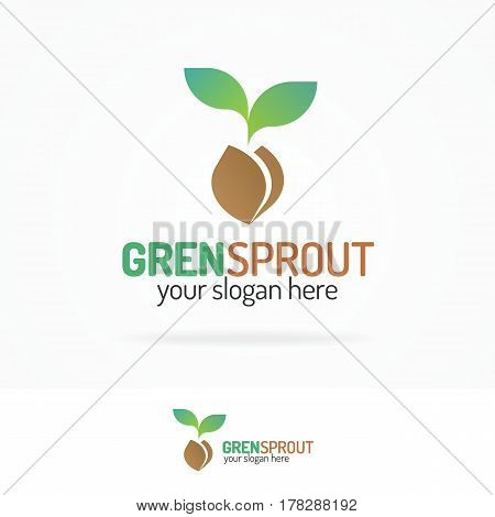 Sprout logo set modern color for your eco company, agro, nature firm, ecology, healthy organic and farm fresh food etc. Vector Illustration