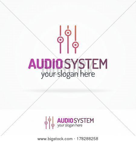 Audio system logo set with equalizer line modern color style isolated on white background for use music store, sound company, audio system shop, dj market etc. Vector Illustration