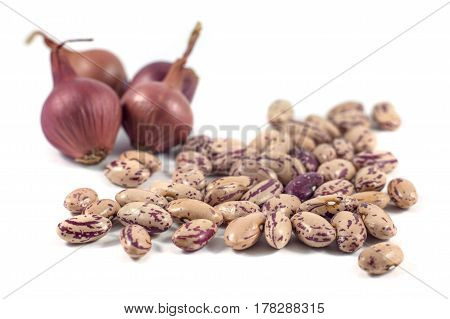 Colorful Beans And Onion Isolated On White Background