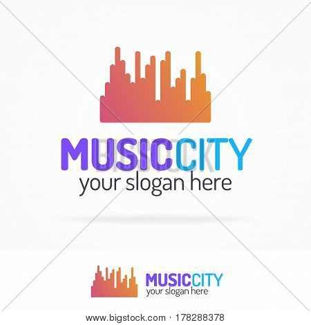 Music city logo set modern color style isolated on white background for use sound store, record company, audio system shop, equipment market, dj etc. Vector Illustration