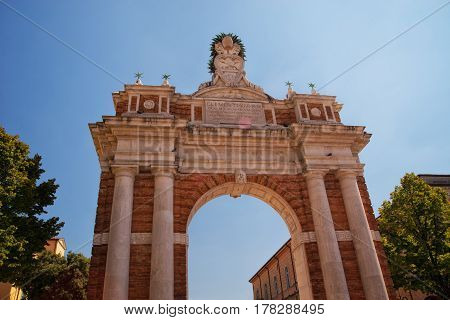 Monumental Arch dedicated to Pope Clement XIV in Santarcangelo Italy Europe