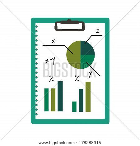 Clipboard with abstract business graphic pie chart and data diagrams. Isolated icon vector illustration
