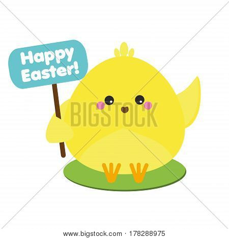 Cute kawaii yellow chicken holding greeting banner. Easter symbol. Isolated icon design element. Vector illustration for spring holidays greetings stickers