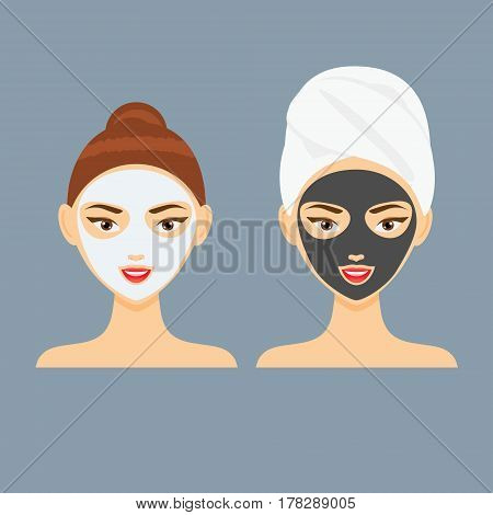 Young woman with cosmetic clay and charcoal facial mask. Vector illustration
