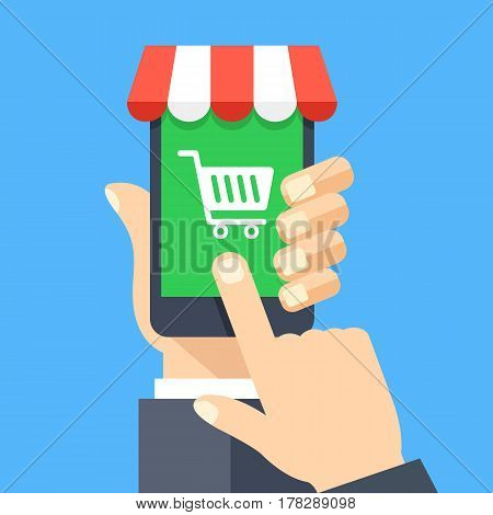 Online shopping app on smartphone screen. Mobile shopping, online store, e-commerce concepts. Hand holding smartphone, finger touching screen. Modern flat design graphic elements. Vector illustration